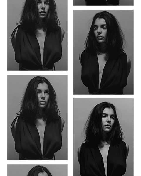 fashion photographie planche contacte de portraits de femme en noir et blanc